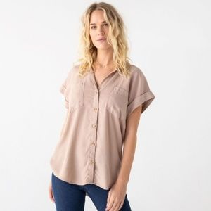 Thread & Supply | Blush Catalina Button Up Top MD